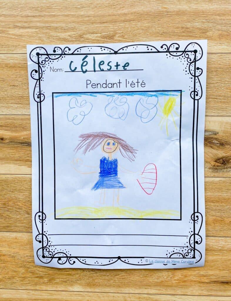 Writing activity for the first day of grade 1. Activité pour la rentrée.