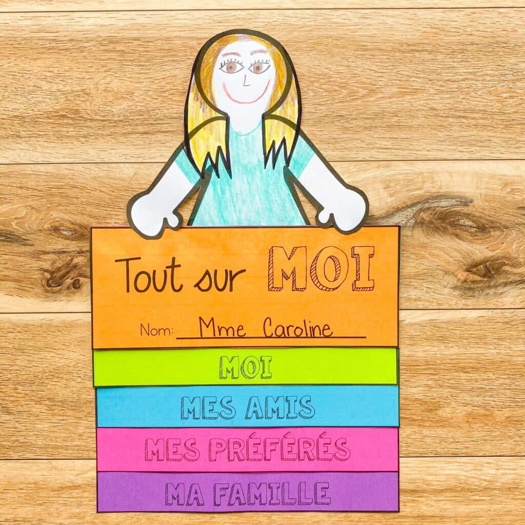 Tout sur moi activity. Activité pour la rentrée. First day of school activity in French.