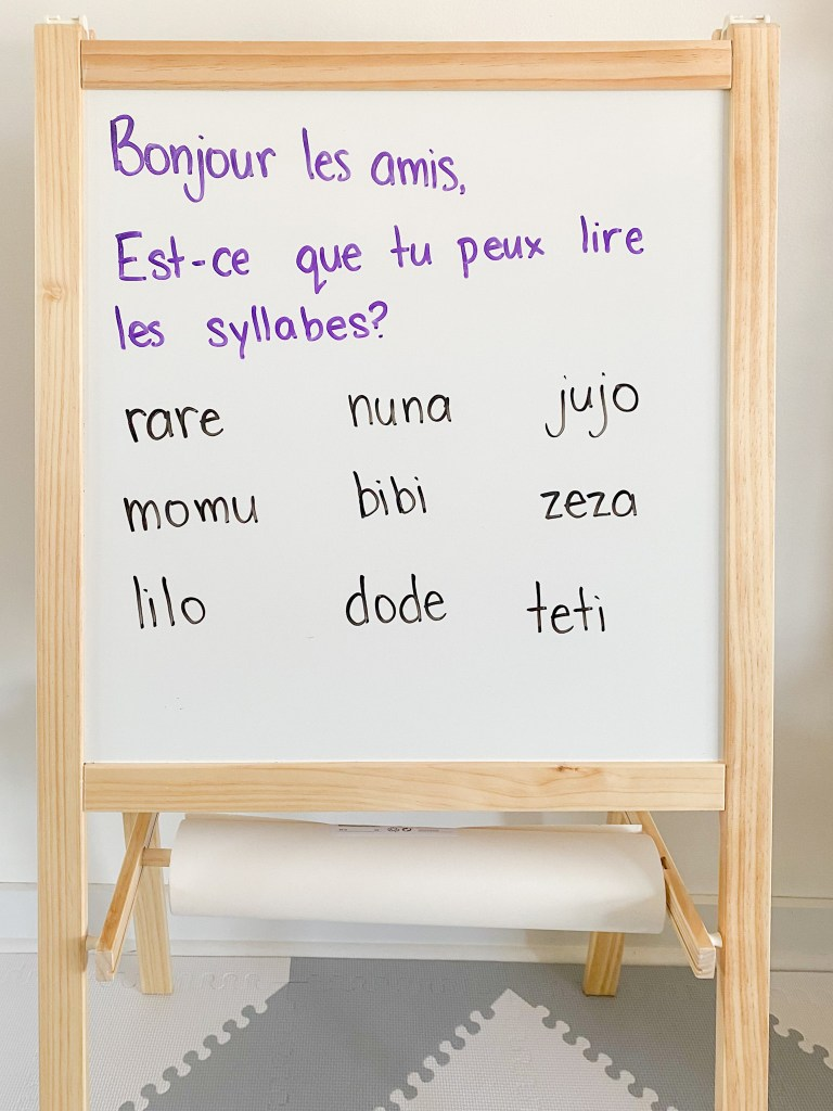 """French morning message. Students must read the syllable """"words""""."""