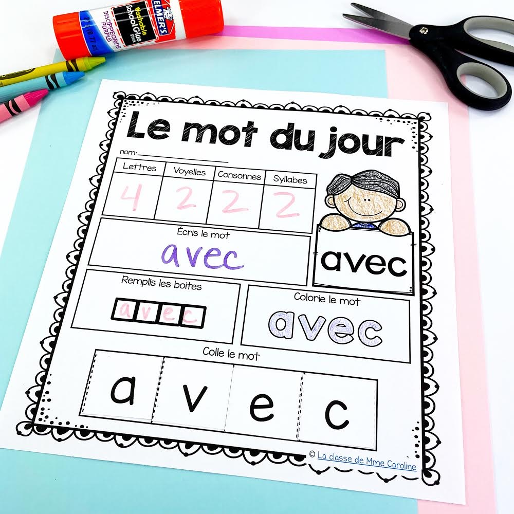 Le mot du jour - French sight word activity. French word of the day