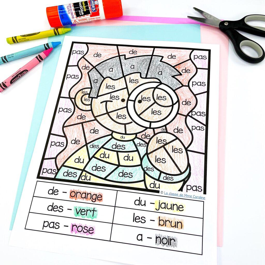 French sight word activity - find and colour. Trouve et colorie le mot de haute fréquence.